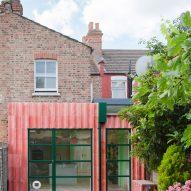 A pink concrete house extension