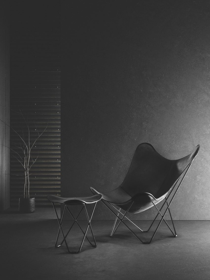 A black leather lounge chair