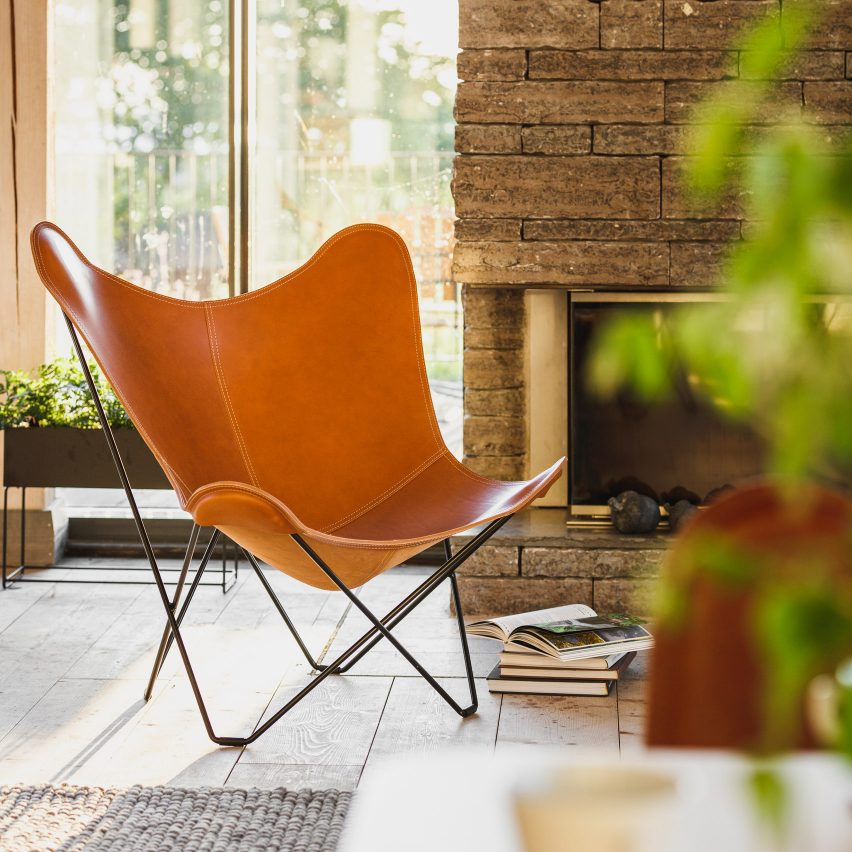 A leather butterfly chair by Cuero Design