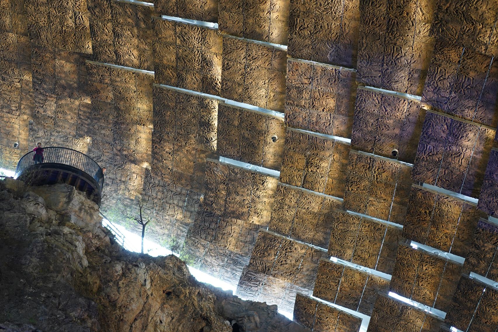 A shelter made from textured fibreglass panels