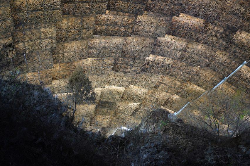 A roof made of textured fibreglass panels