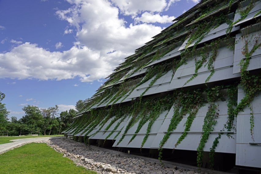 Plant-covered panels over the Peking Man cave in China