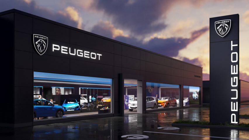 Peugeot logo on showroom