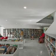 Bookcases fill the walls of the space