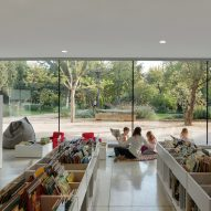 The ground floor library has views out to the gardens