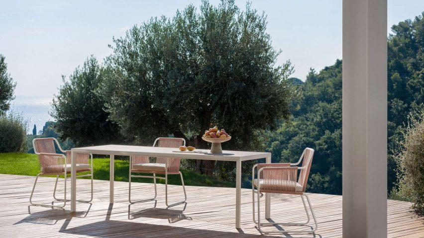 Plein Air table by Michael Anastassiades for Roda on an outdoor terrace