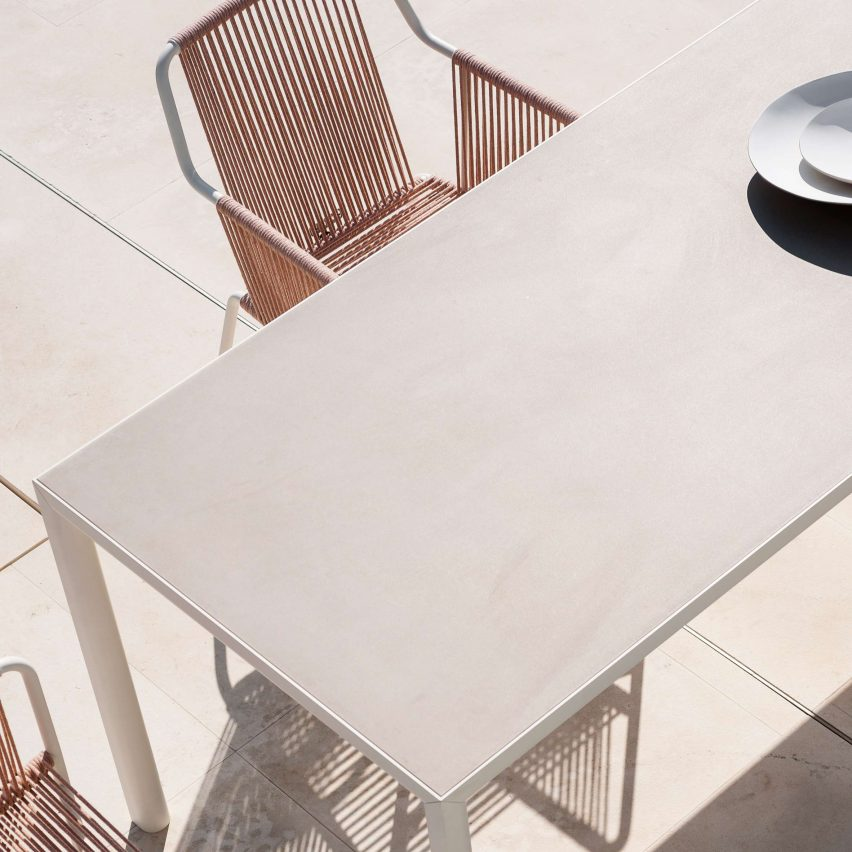 Plein Air table by Michael Anastassiades for Roda with tabletop in clay colour