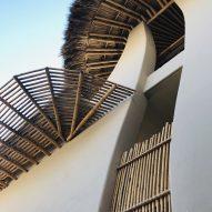 A close up view of bamboo pergolas