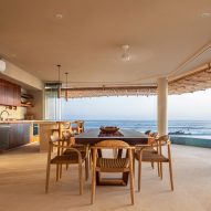 A dining space with sea views