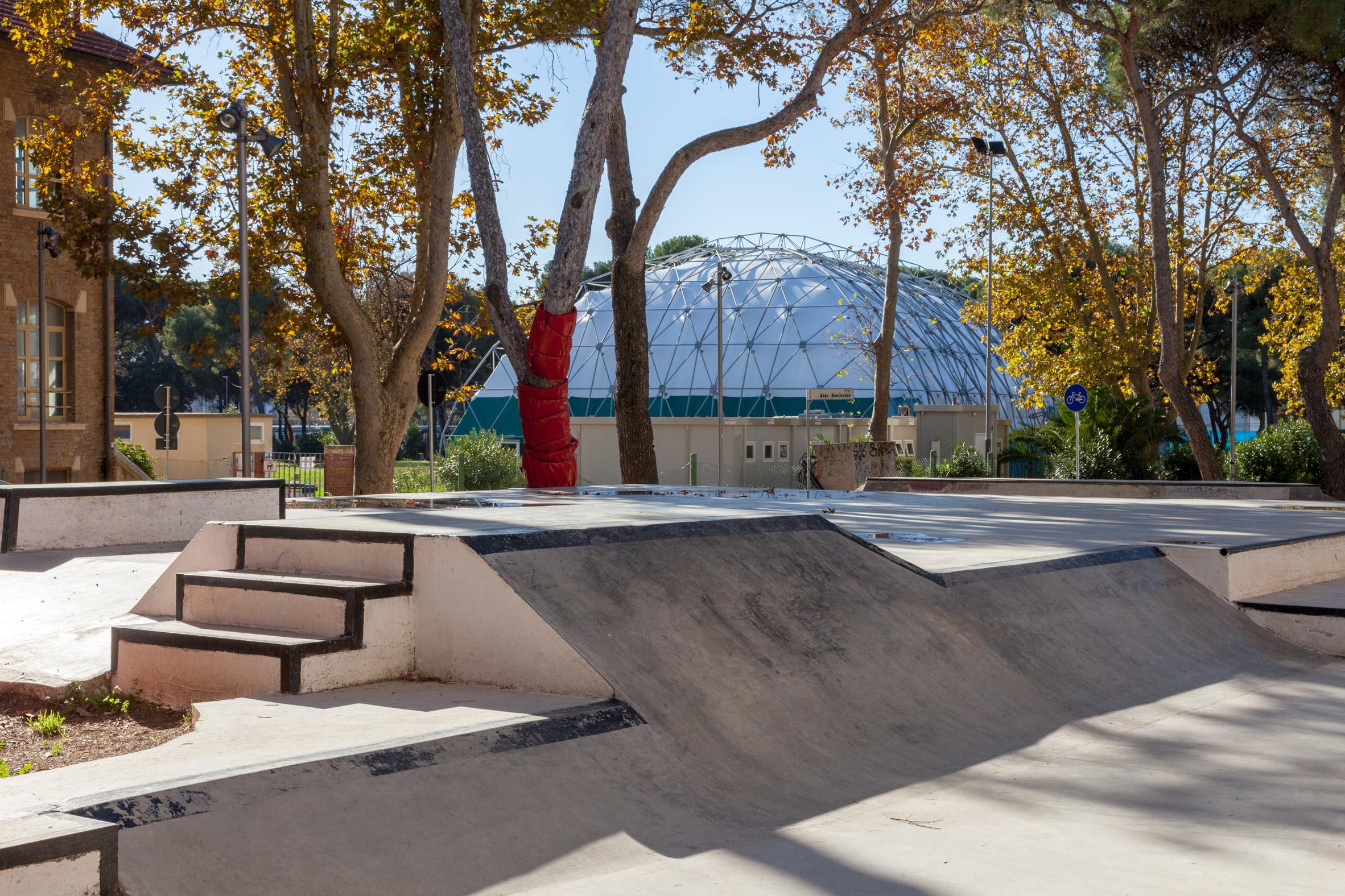 A public skatepark in Piazza della Repubblica