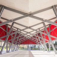 The exposed structure of the Piazza della Repubblica canopy
