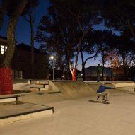 A skatepark in Piazza della Repubblica
