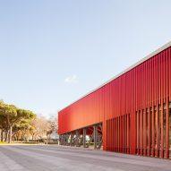 The slatted red facade of Piazza della Repubblica canopy