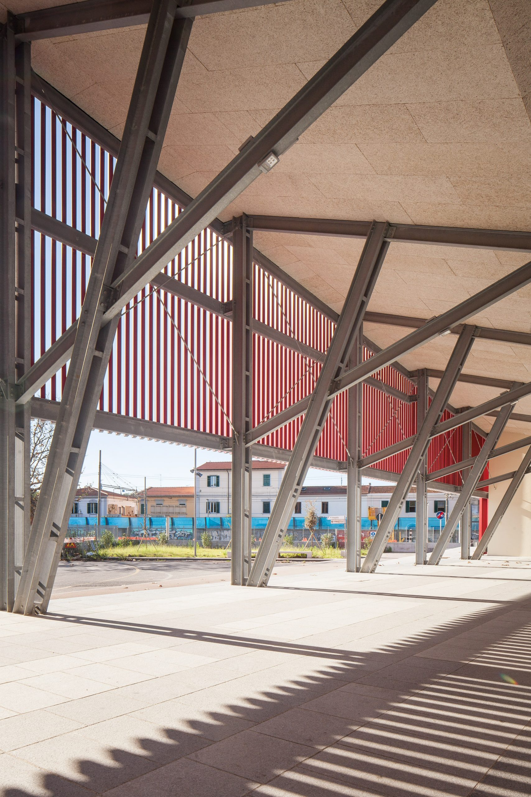 The exposed metal structure of a pavilion