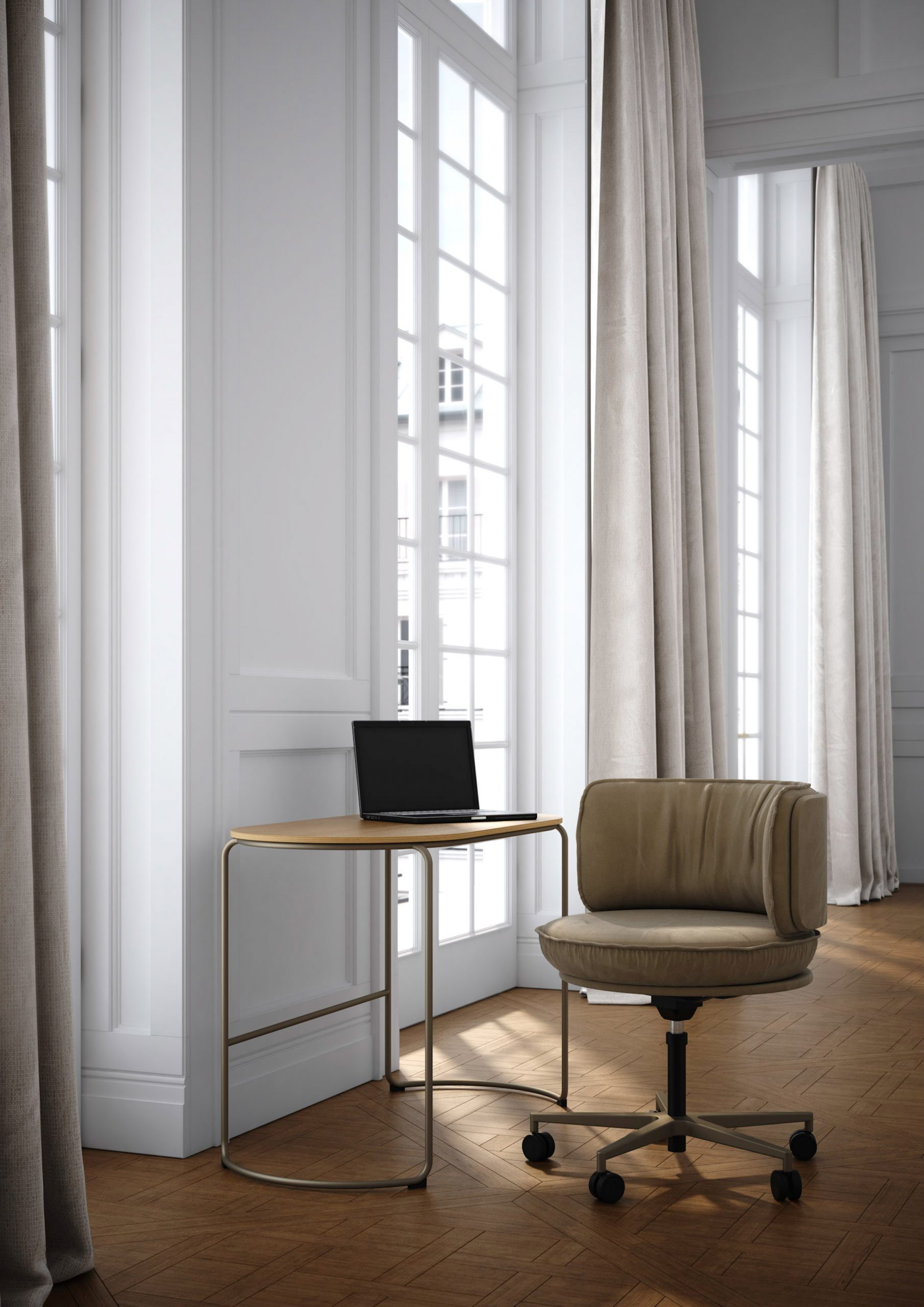 Ring armchair with castors on a five-pointed base by Vank in a discreet home office