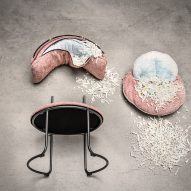 Ring chair cushions Vank unzipped to reveal foam filling made from recycled industrial waste