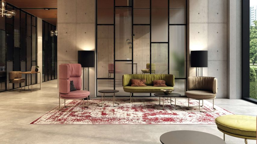 Ring sofa, tables and armchairs by Vank in a lobby