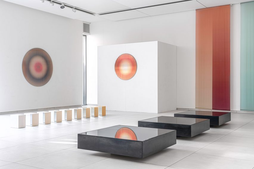 Steel boxes in Shifting Perspectives exhibition