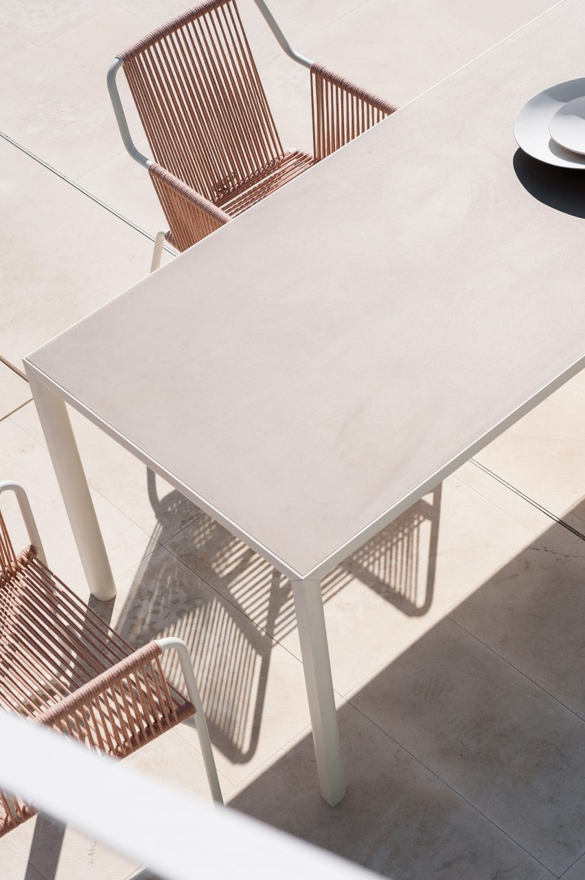 Plein Air outdoor table in a light colourway by Michael Anastassiades