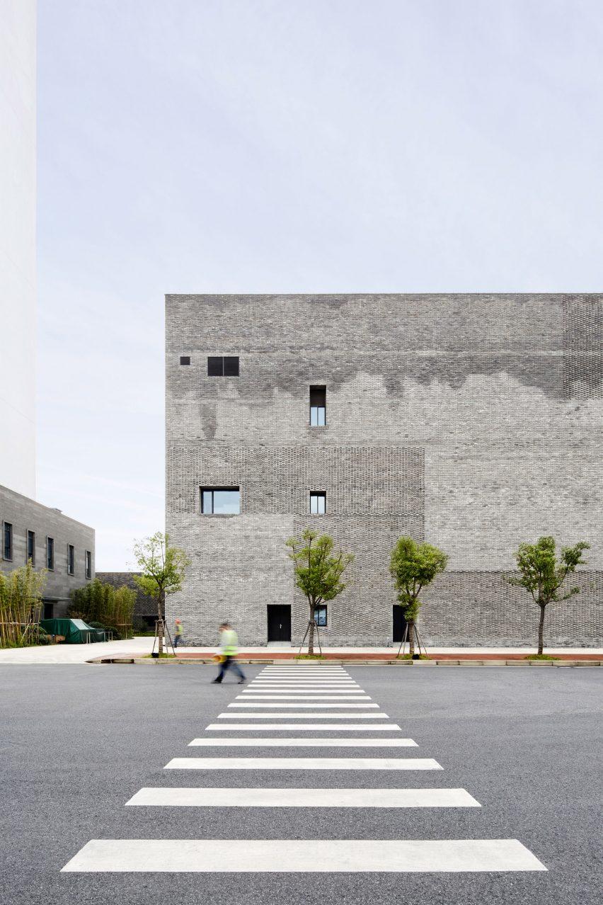 A grey brick office building in Shanghai by Neri&Hu