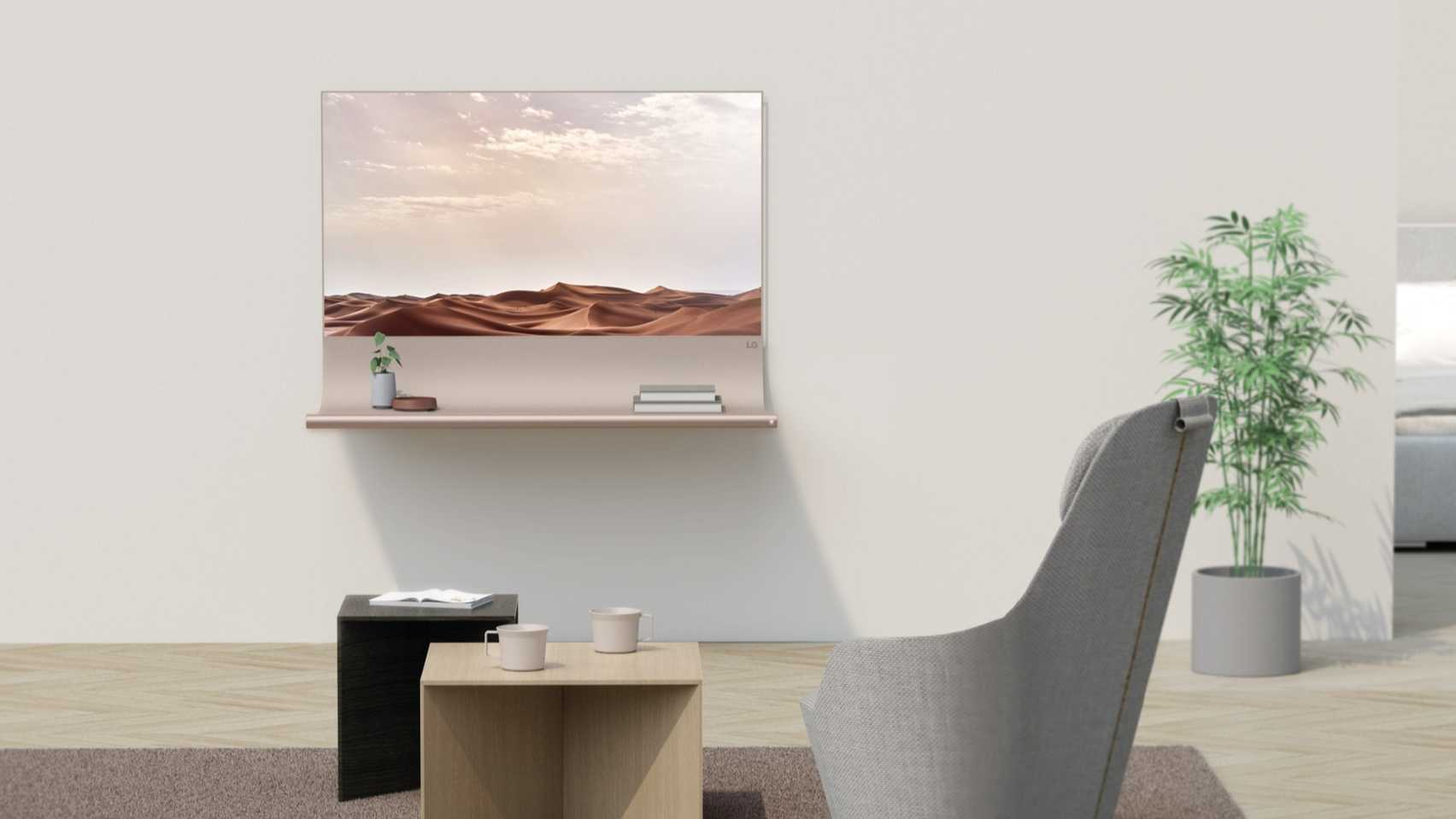 Scroll by Richard Bone TV and shelf designed for the OLED Go! competition from Dezeen and LG Display