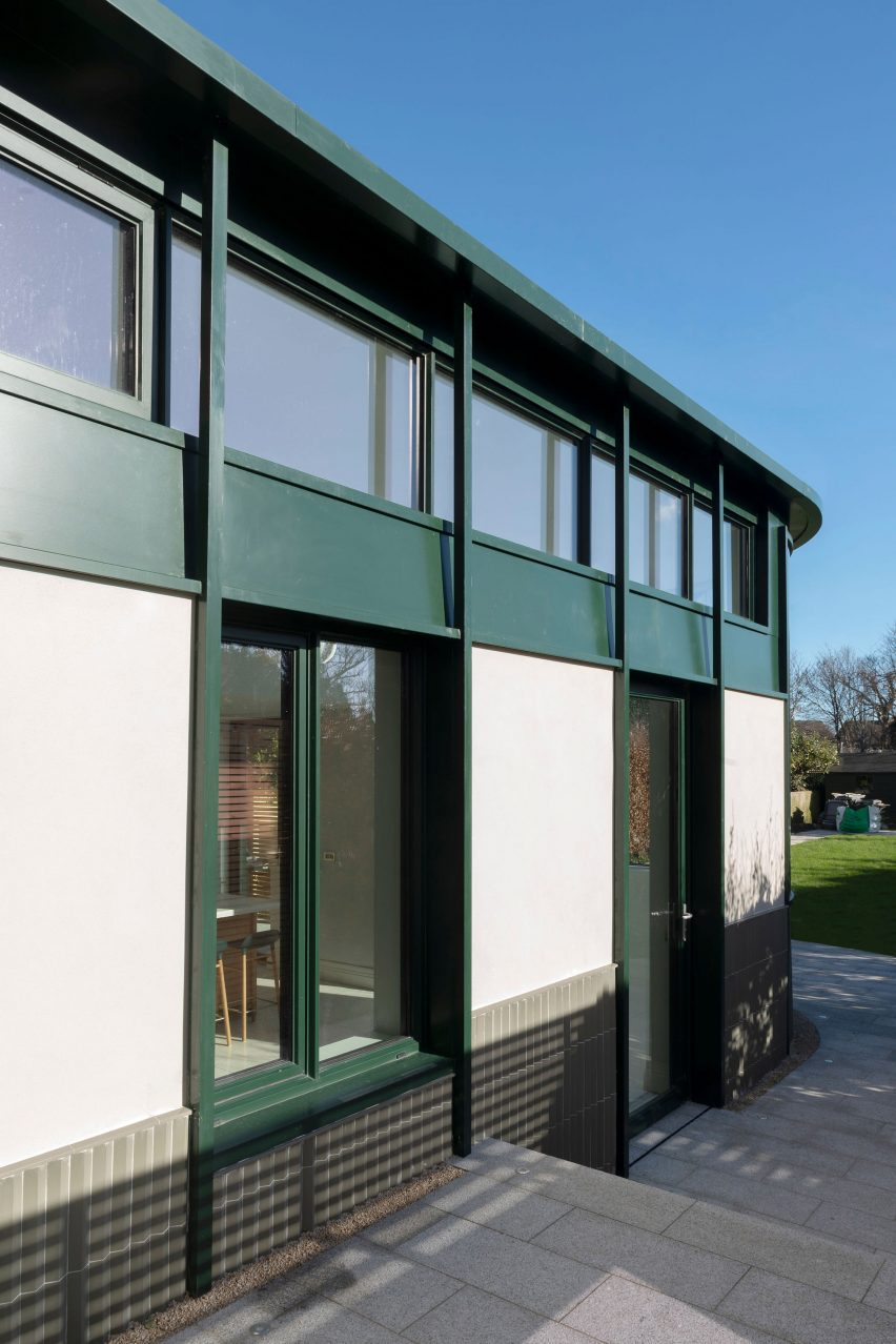It has green metalwork by Scullion Architects