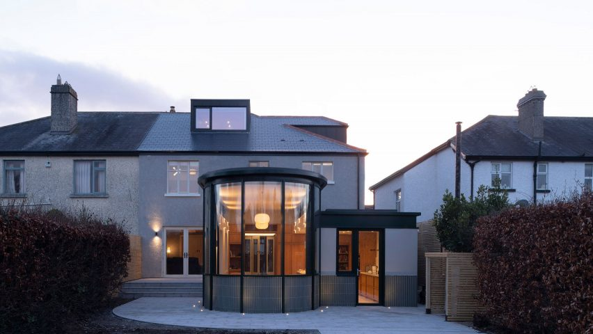 Semi-detached home with glass extension