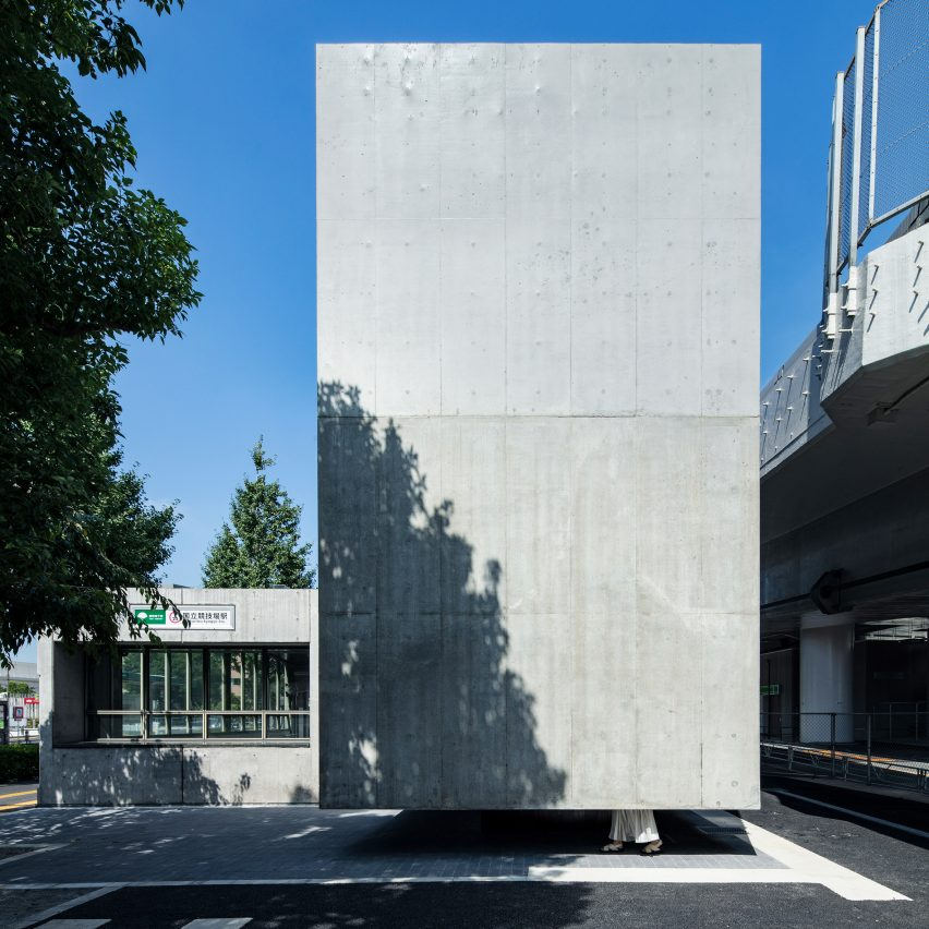 Floating concrete toilet near Olympic Stadium in Tokyo