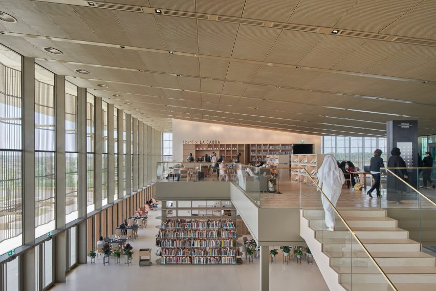 A pared-back library interior by Foster + Partners