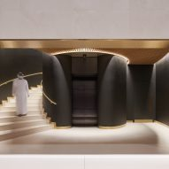 A staircase inside a library by Foster + Partners