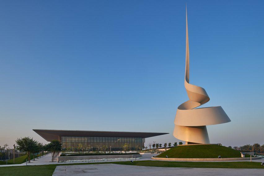 A spiralling sculpture by Gerry Judah beside The House of Wisdom