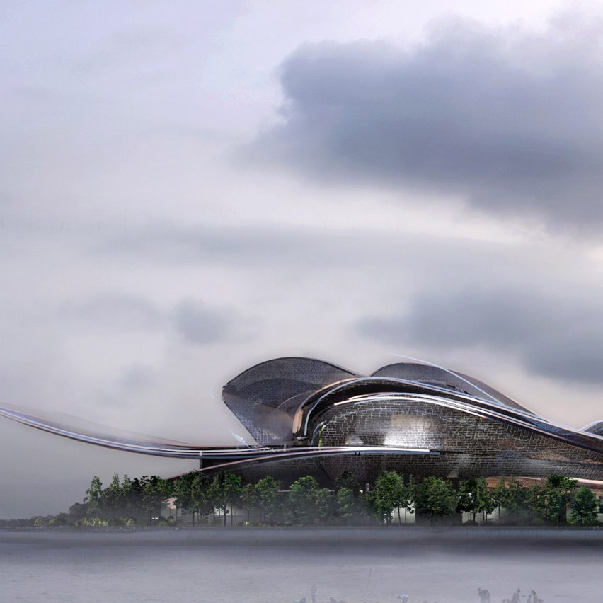 A visual of a sinuous opera house by Jean Nouvel