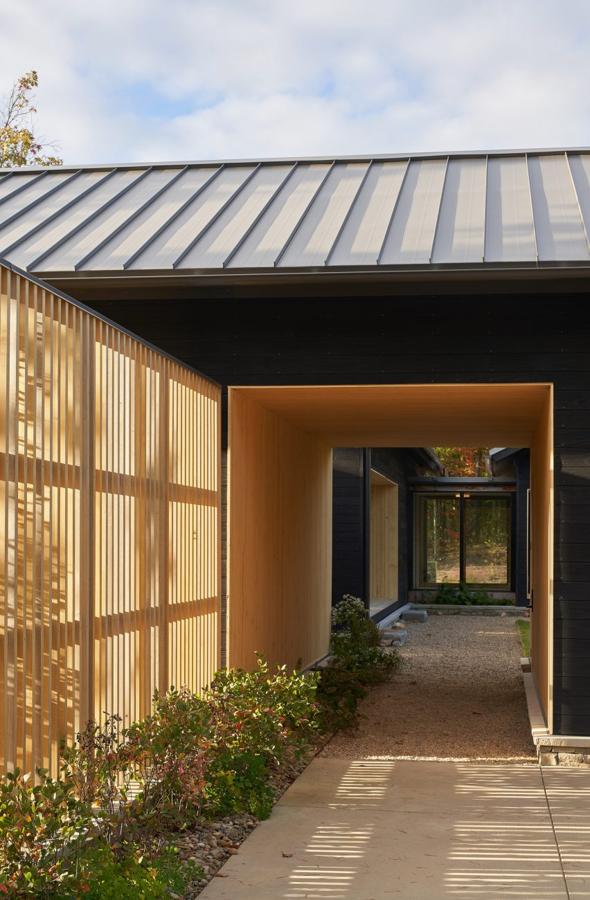 Blackened timber cladding of house in Tennessee