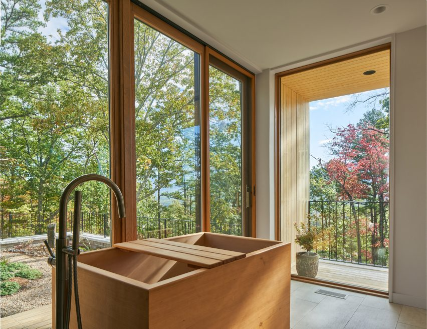 Bathroom with Japanese soaking tub in Tennessee house