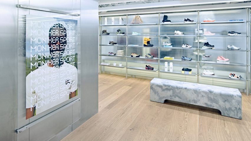 Moniker Sport section by Snøhetta featuring steel and display cases
