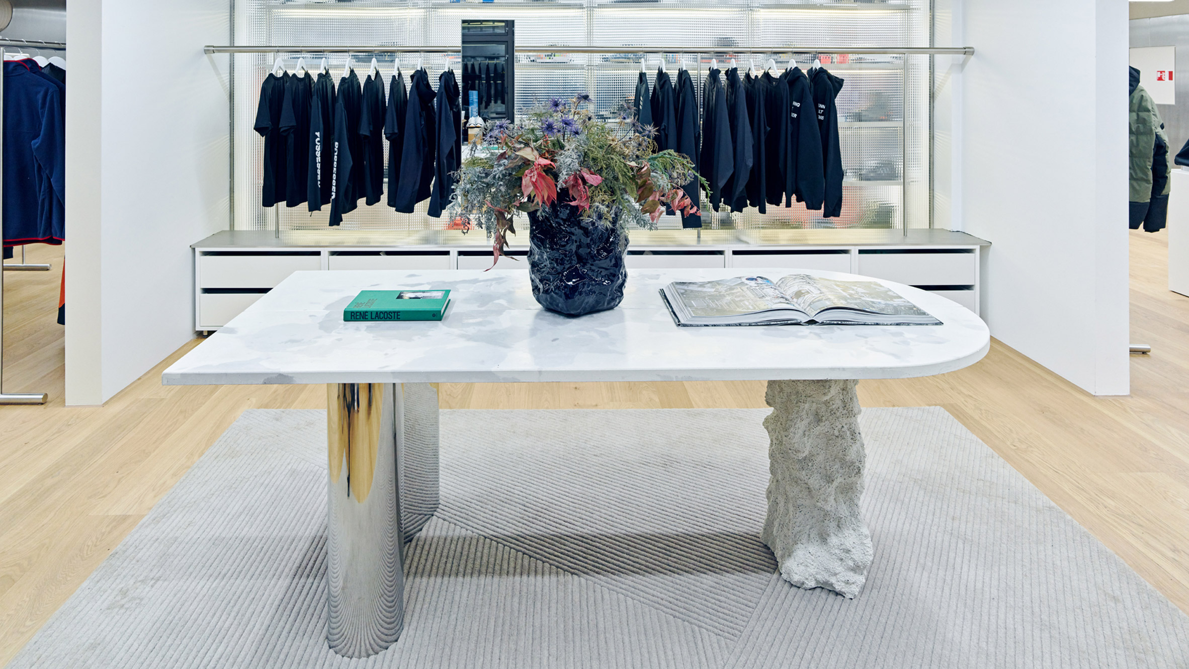Concrete and steel table by Pettersen & Hein in Moniker store