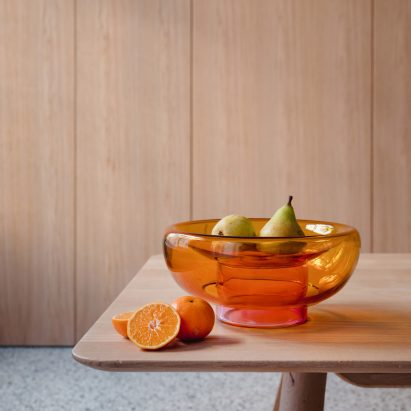 Orange sphere bowl by Milena Kling for Studio Hausen