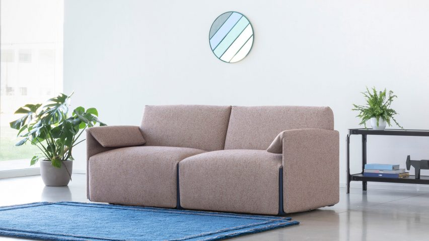 Beige Costume sofa by Stefan Diez for Magis in a living room with plants
