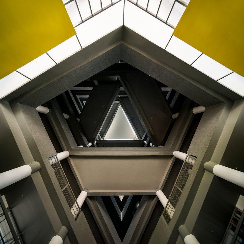 An angular atrium with crisscrossing bridges