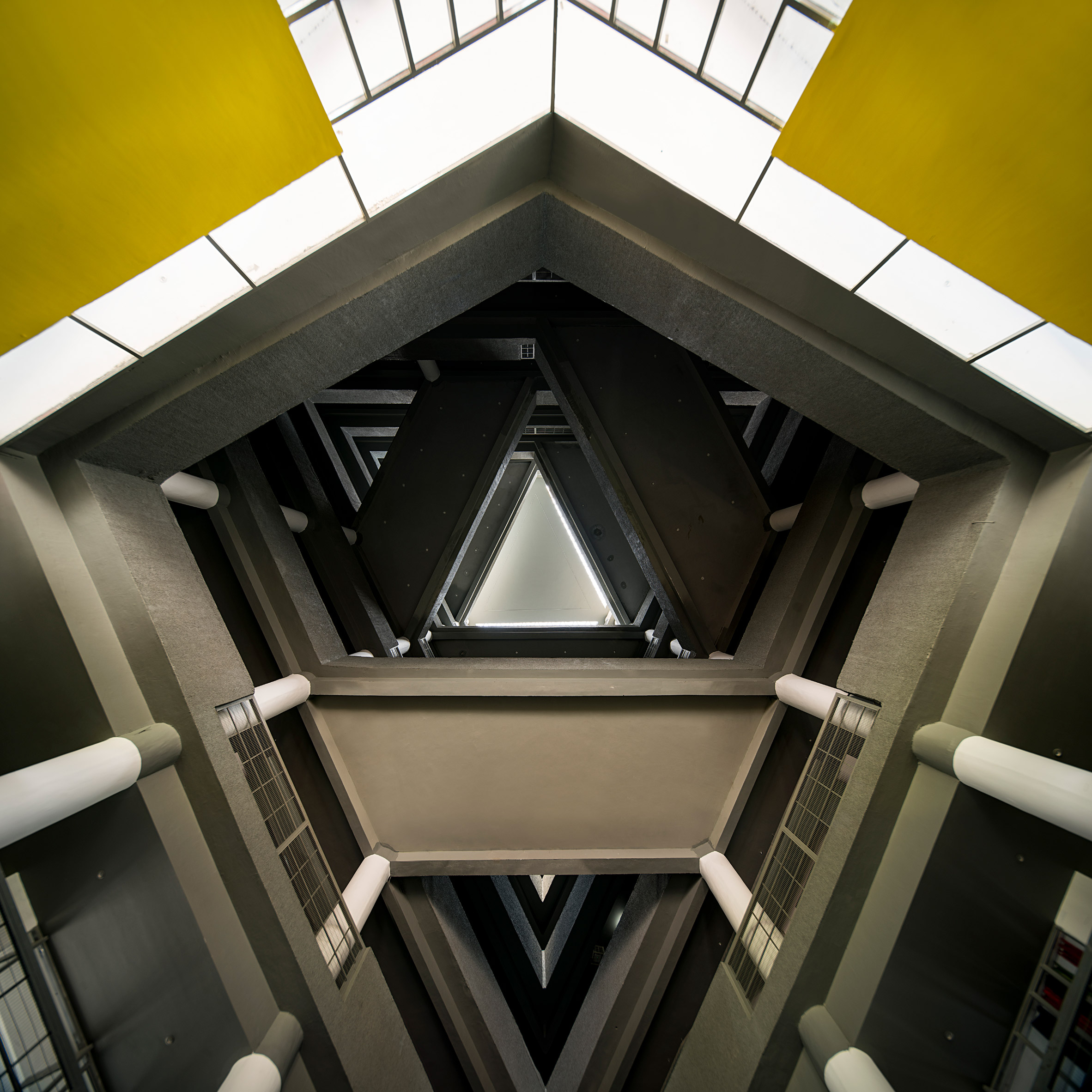 An angular atrium with crisscrossing bridges