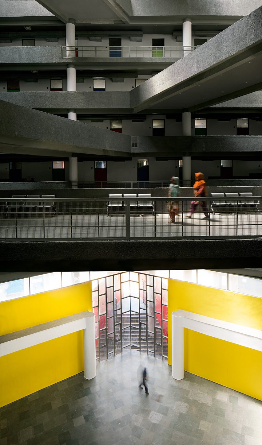 A multi-storey atrium in Indian student accommodation