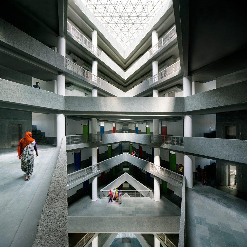 A multi-storey atrium with crisscrossing bridges