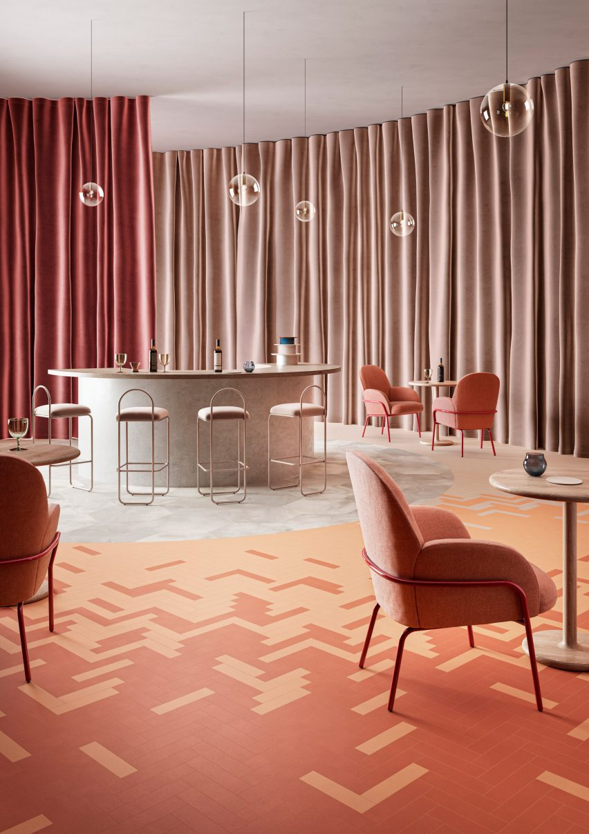 Herringbone in Studio Mood flooring tiles by IVC Commercial