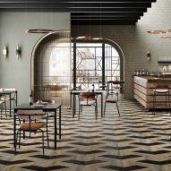 Tessellating shapes create geometric patterns in Studio Moods flooring