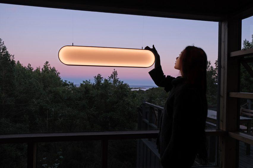Sunne light by Marjan van Aubel on the Sunne Light setting in an interior