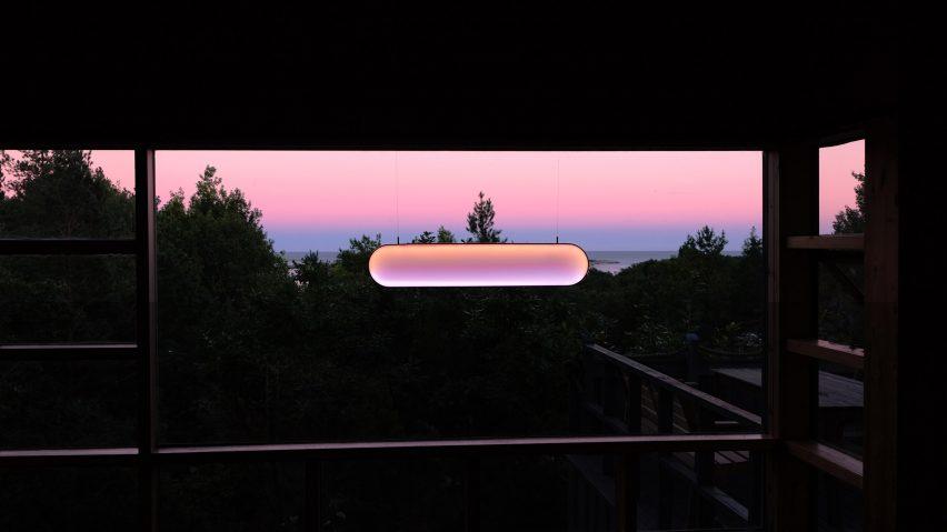 Solar light by Marjan van Aubel on the sunrise setting in an interior