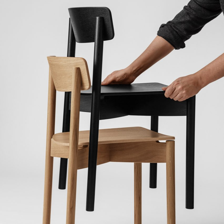 Two stacked Cross Chair by Takt