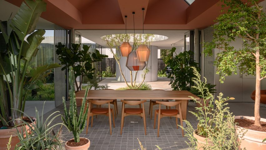Wood dining table surrounded by potted plants