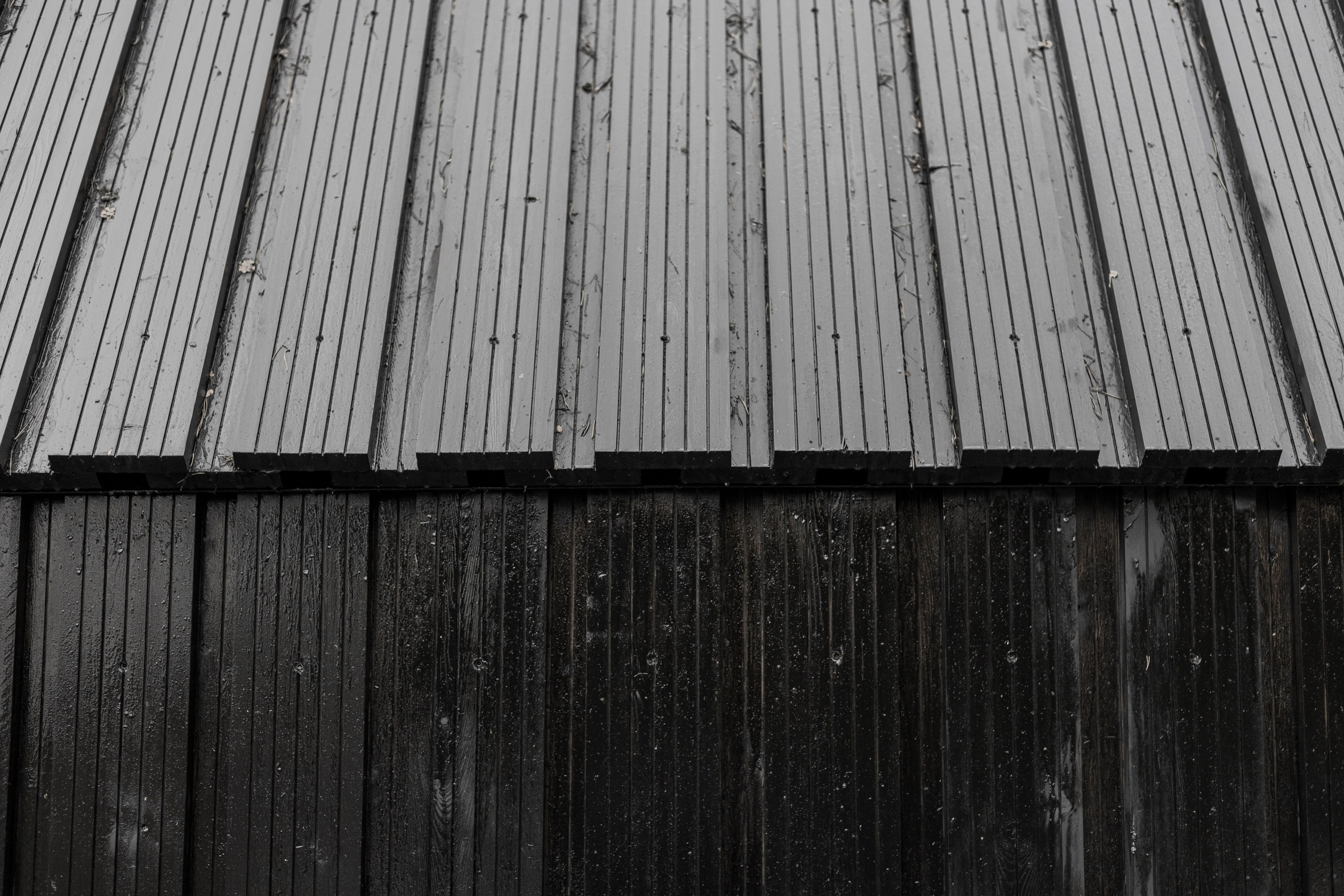 Grooved larch cladding