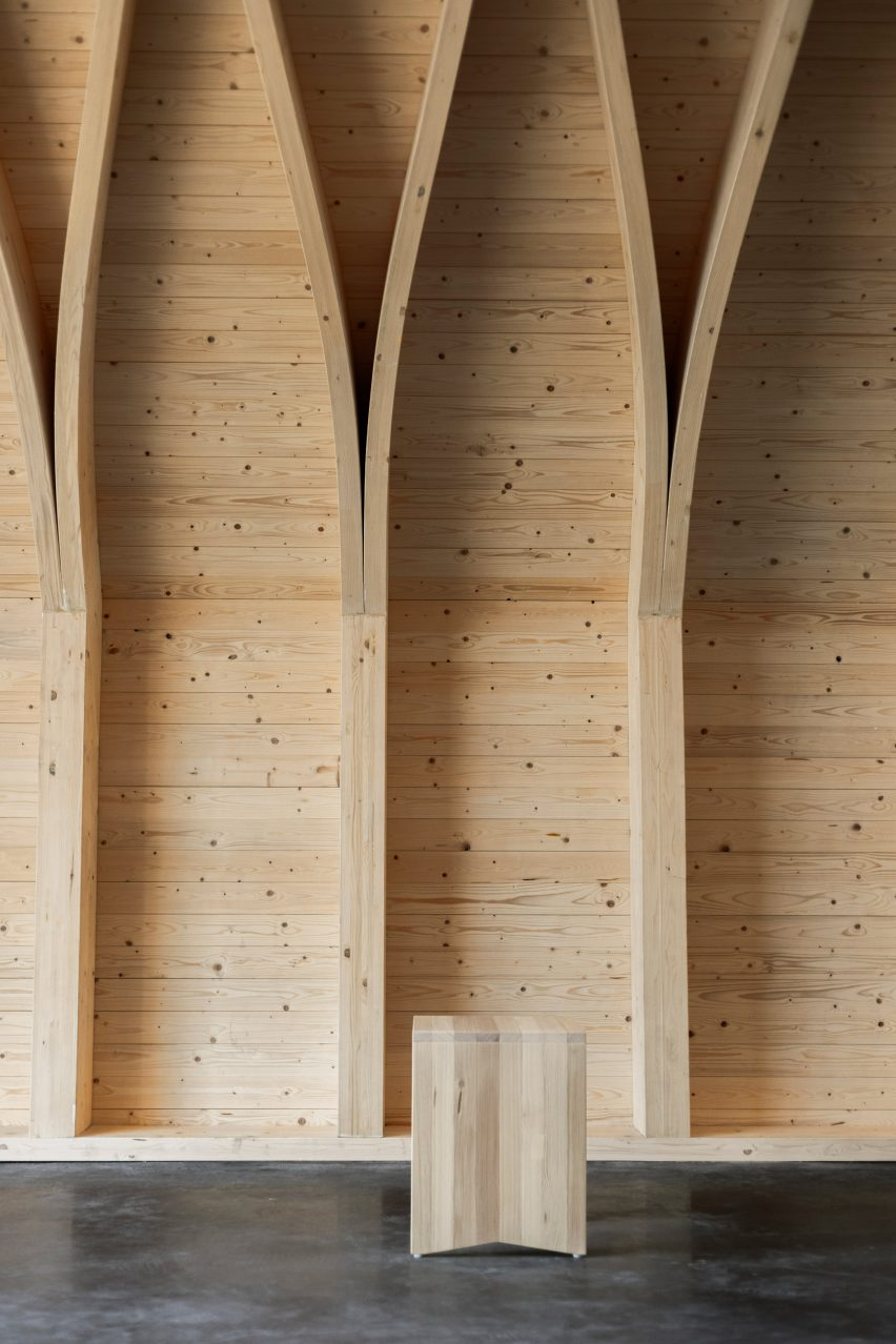 Timber furniture in a chapel